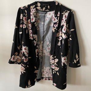 Dynamite Black Floral Print Open Front Blazer XS